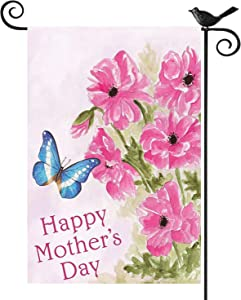 Kuchluse Happy Mother's Day Garden Flags Decorative Flowers Butterfly Yard Flags, Double Sided Burlap Flags Boutique Floral Outdoor Decor Banners, 12.5 x 18 Inch