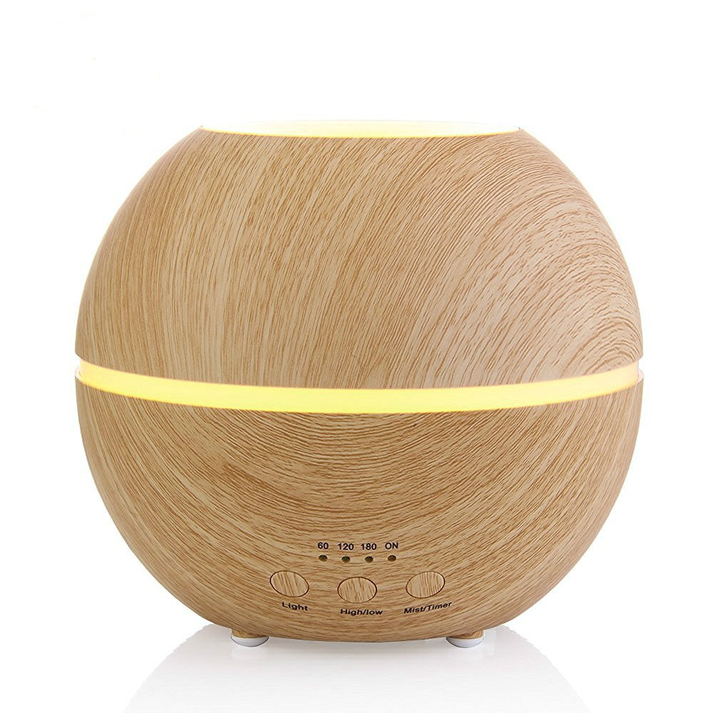 Aromatherapy Essential Oil Diffuser Ultrasonic Cool Mist Humidifier with Timer and 7 Color LED Waterless Auto Shut-off, 300ml Light Wood Grain by MIU COLOR by MIU COLOR