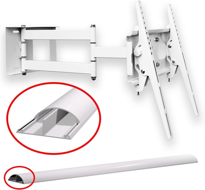M&G Techno - Soporte de Pared para televisores de 63 Pulgadas, orientable, Distancia a la Pared de 67 cm, con Canal de Cable de 45 cm, Color Blanco: Amazon.es: Electrónica
