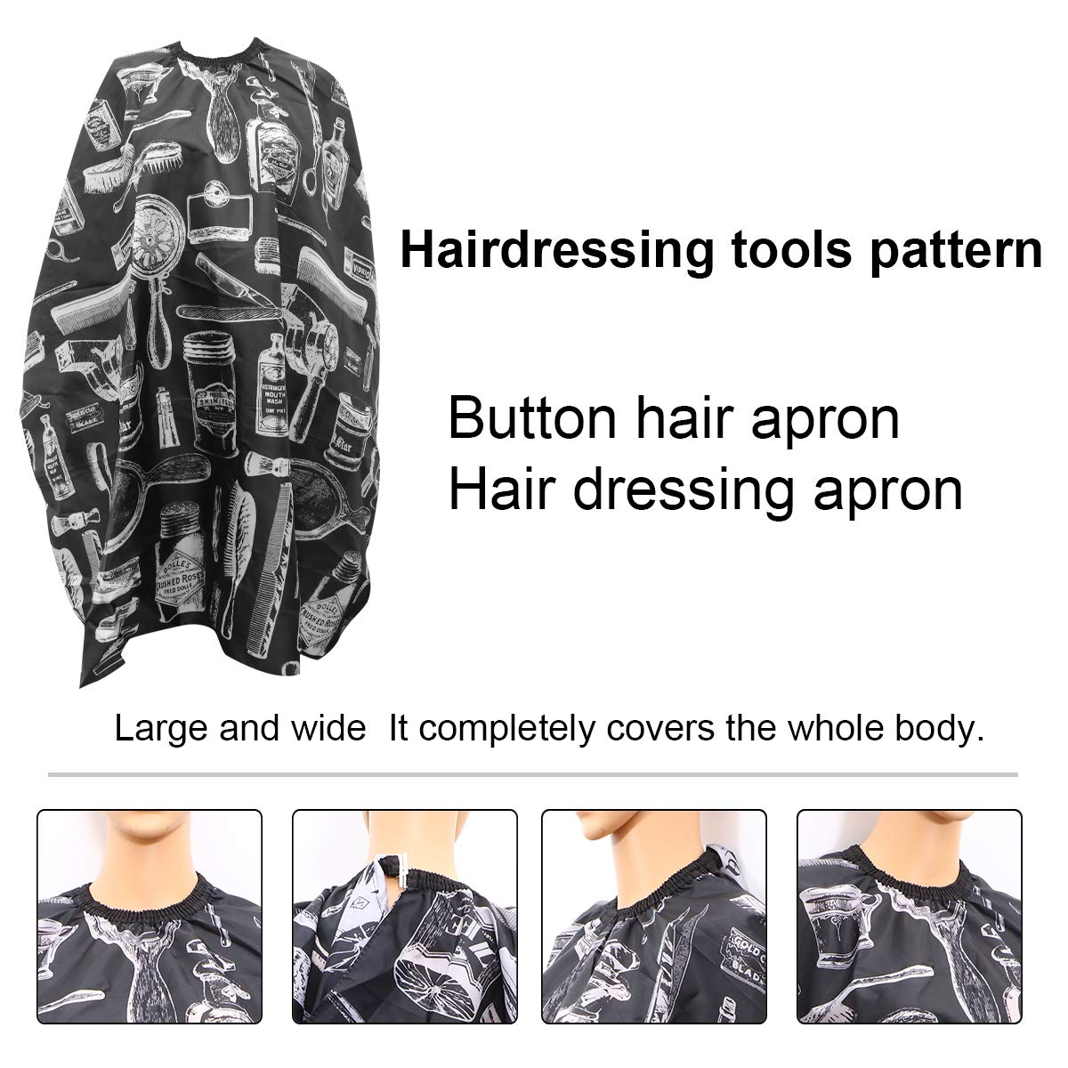 Barber Cape Hair Cut Salon Aprons With Buttons Haircut Hairdressing Cape Cloth Apron Hair Styling Cape