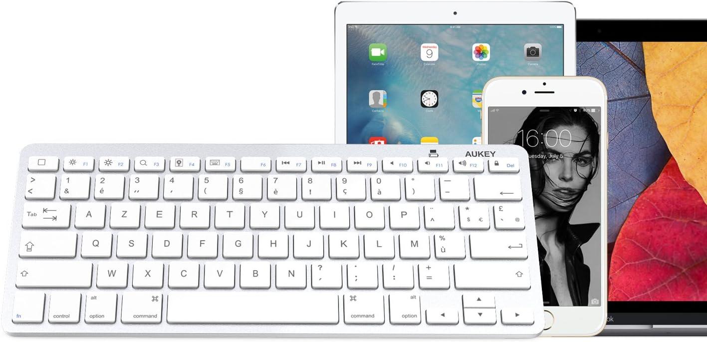 Aukey - Mini teclado Bluetooth inalámbrico (AZERTY - versión francesa) ultrafino y portátil, compatible con dispositivos con sistema iOS, (iPhone, ...