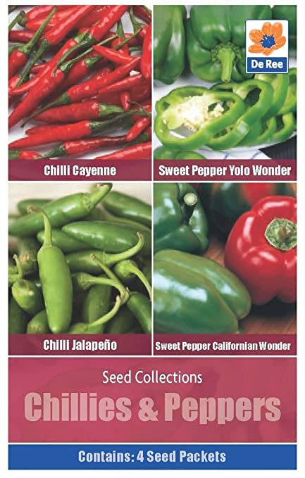 e0a74014af49 De Ree Chillies   Peppers Seeds 4 in 1 Pack Includes (Cayenne Sweet Pepper  Yolo