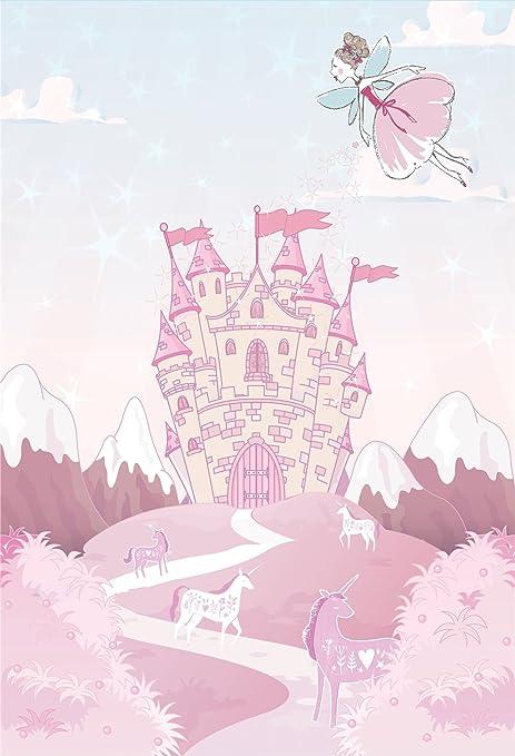 Fairy Unicorn Pink Wall Art Decorative Mural Wallpaper Hanging Catherine Lansfield Kids Girls Castle