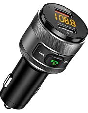 FM Transmitter, CHGeek QC3.0 Bluetooth FM Transmitter Car Wireless Radio Adapter Handsfree Car Kit with 5V/4A Dual USB Charger Ports, Voltage Display, Play USB Flash Drive for iOS and Android Devices
