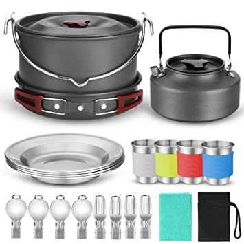 Amazon.com: Odoland 10pcs Camping Cookware Kit de ajedrez ...