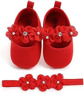 EDOTON Bébé Fille Chaussures avec Bandeau Cadeau Ensemble Bambin Fille Belle Printemps Fleur Semelle Souple Anti-dérapant Baskets Princesse Chaussures