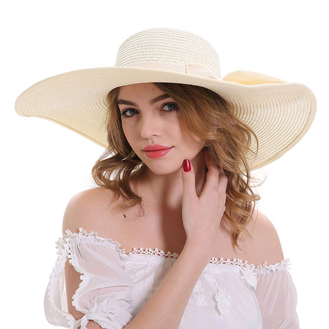 Dingtuo Women Straw Sun Hat Foldable Wide Brim Floppy Summer Beach UV Protection Hats with Bowknot for Outdoor Travel Beige