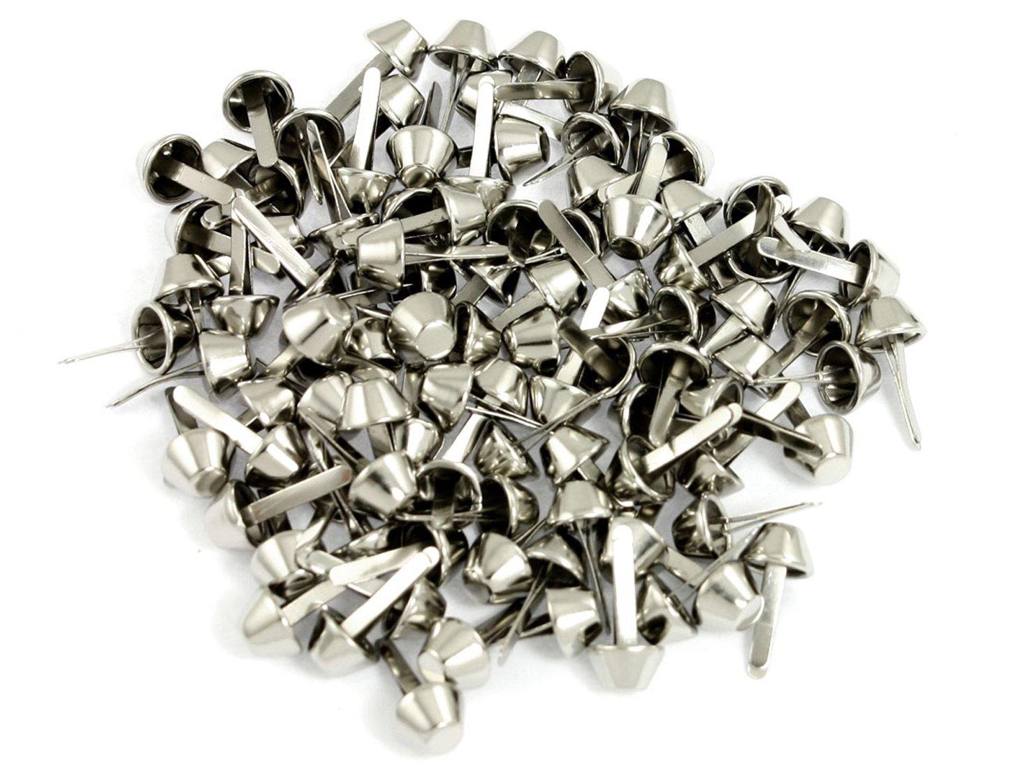 100 Pcs Silver Tone Metal Split Rivets for Bag Clothes