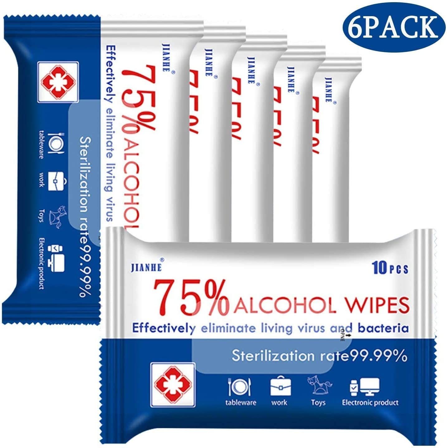 75/% Alcohol Cleaning Wet Wipes 6 Packs=60pcs Portable Wet Wipe Large Size for Pet Hand Travel Home Office School Multifunctional Cleaning Easy to Carry 60 Pcs Disposable Wet Wipes