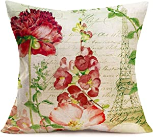 "YANGYULU Vintage French Flower Throw Pillow Case Rustic Red Roses Paris Eiffel Tower Words Lettering Cotton Linen Decorative Cushion Cover 18""x18"" Square Pillow Case Cushion Cover for Sofa (Floral D)"