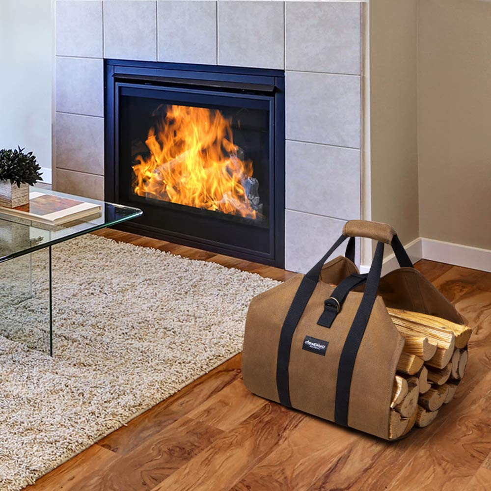 Amagabeli Canvas Log Carrier Tote Bag Indoor Fireplace Firewood Storage Bag Totes Holders Waterproof Waxed Outdoor Wood Carrier with Handles Non Slip Padding Straps Sturdy Log Holder Carrying Bag