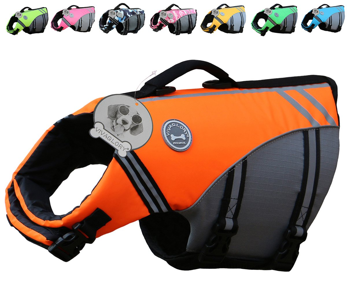 Vivaglory New Sports Style Ripstop Dog Life Jacket with Superior Buoyancy & Rescue Handle, Bright Orange, XL