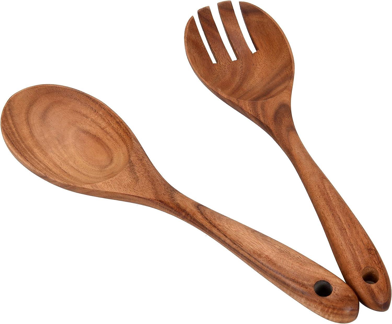 Wooden Acacia Salad Servers 10-inch, Set of 2, Salad Spoon and Fork Set, 100% Natural Hand Carved Wooden Utensils for Serving Salad