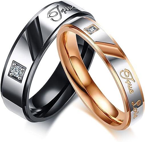 2 Bagues Acier inoxydable Anneaux mariage Bagues d/'amitié /& Gravure