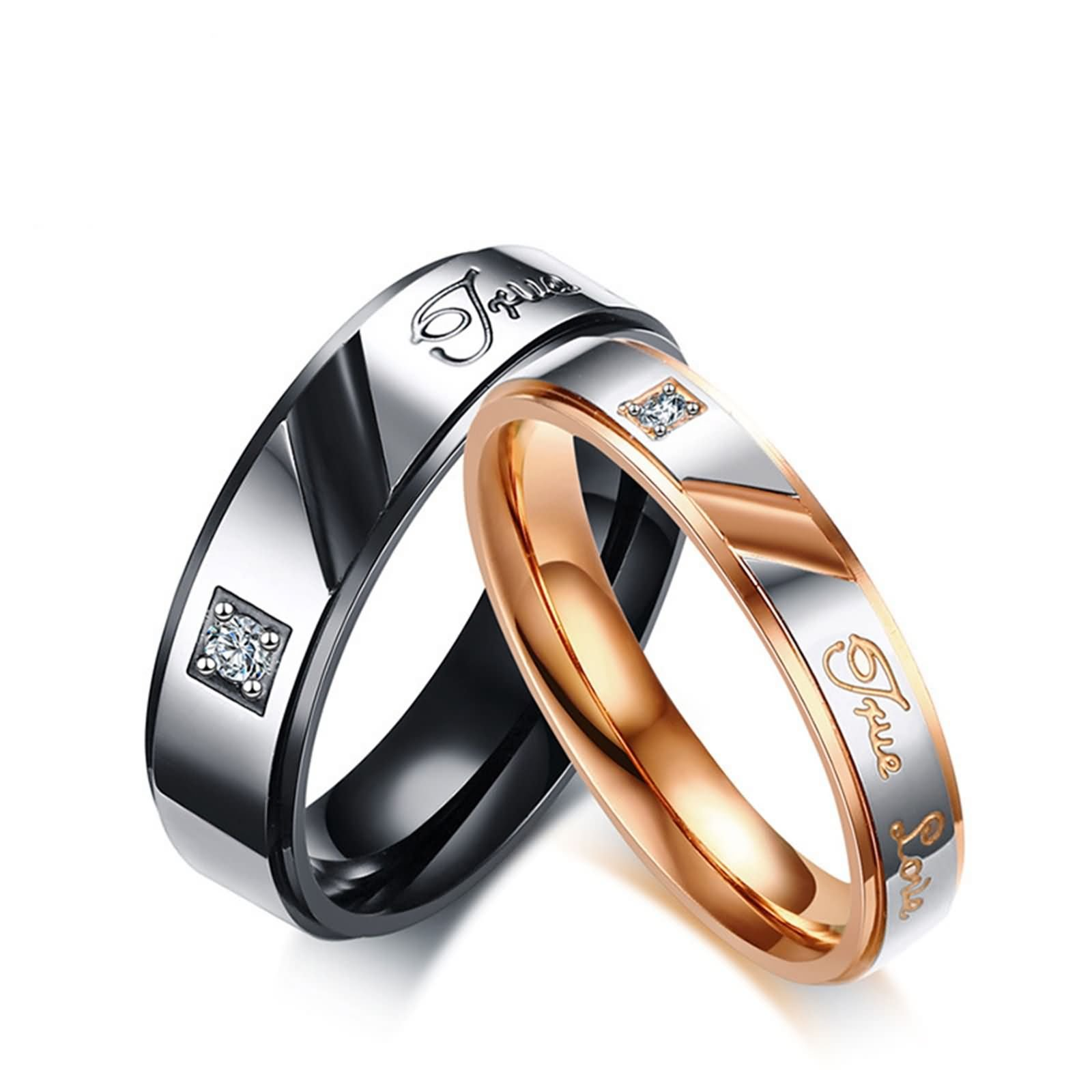 Beydodo Matching Rings for Couples Promise Rings Engagement Rings Stainless Steel true love CZ Size 6 & Size 10