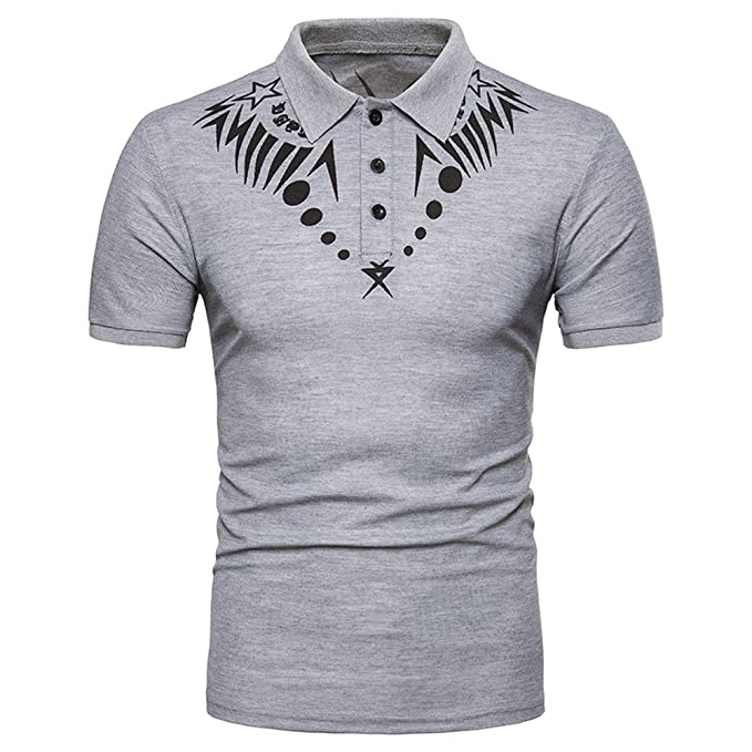 ASHOP - Camisetas Hombre - Summer T-Shirt - Estampado Africano Ocasional  O-Cuello dee6d0d3089