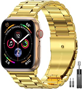 Compatible with Apple Watch Band 42mm 44mm, apple watch band stainless steel metal Replacement iwatch band Compatible for Apple Watch Series 5/4/3/2/1(Gold)