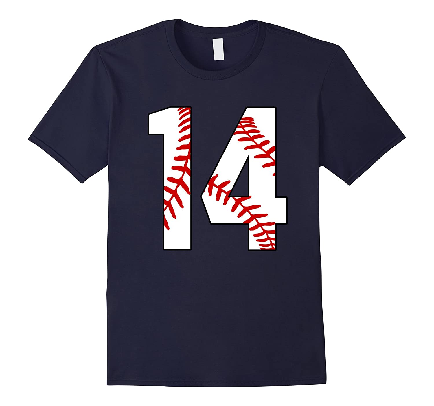 #14 Baseball 14th Birthday Fourteen Baseball Mom T-shirt-TH