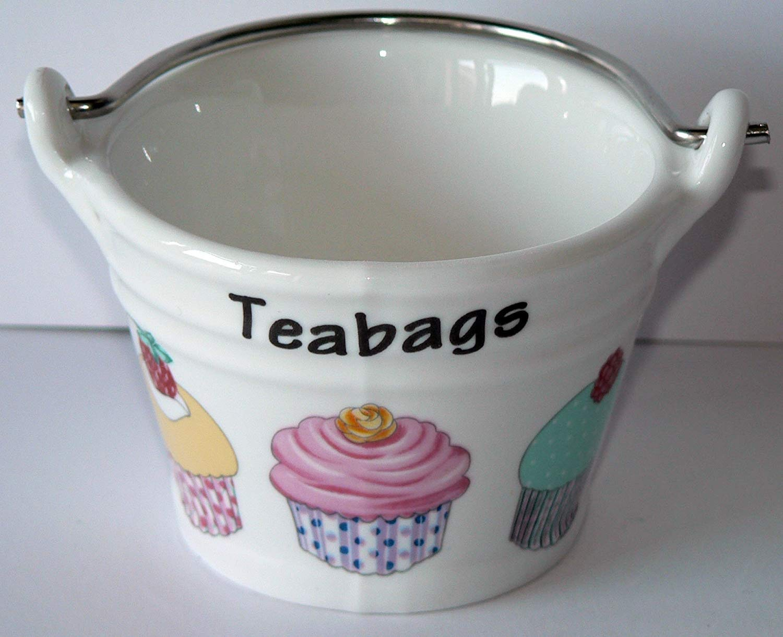Cupcake Teabag Tidy, Porcelain Bucket Shaped Teabag Tidy CRACKINCHINA