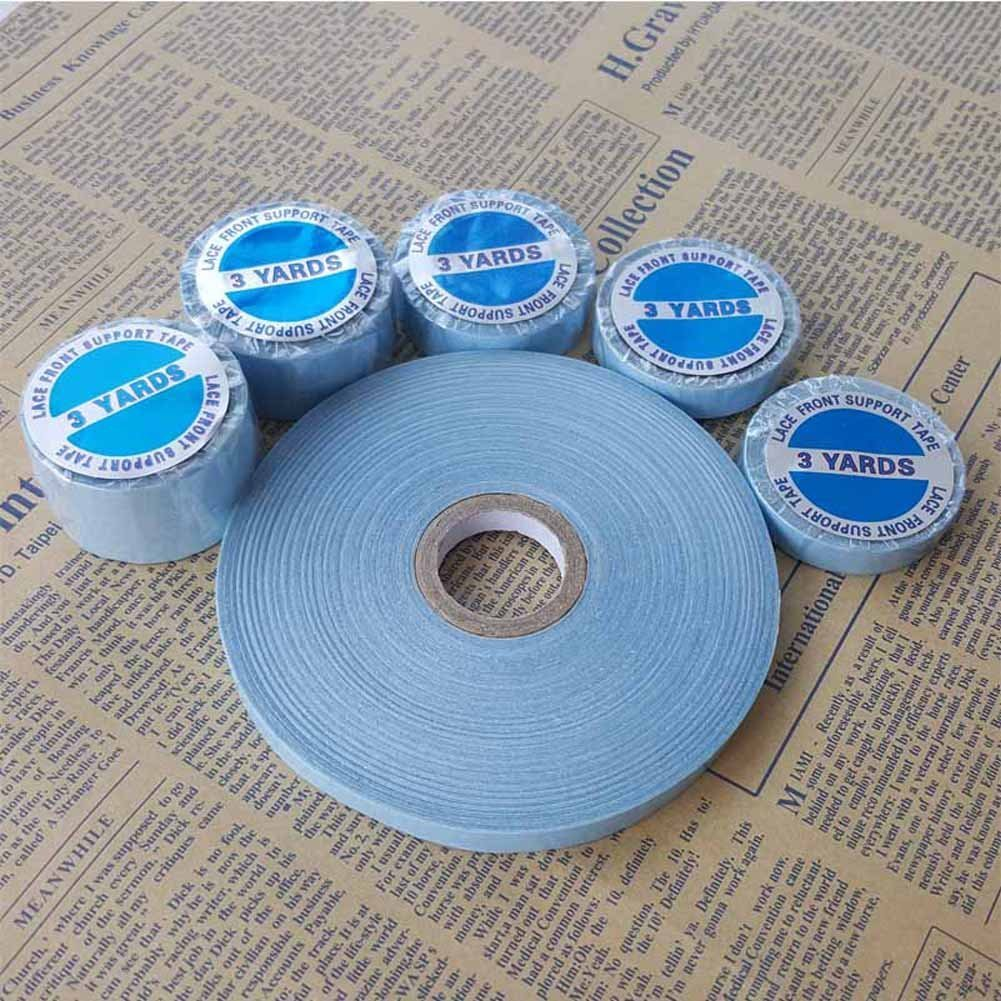 SHOWJARLLY 3Yards Lace Front Support Tape Roll 1cm Width Strong Adhesive Double Side Blue Tape for Skin Weft Hair Toupees and Wigs Water-Proof