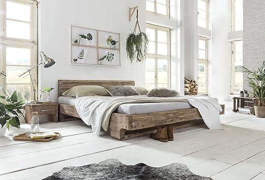 Woodkings Bett 180x200 Mayfield Doppelbett Akazie weiß gebürstet ...