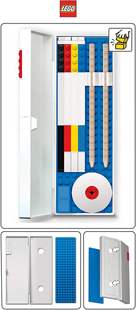 Details about  /Lego Stationery Pencil Box Case with Blue Building Brick Green Inside