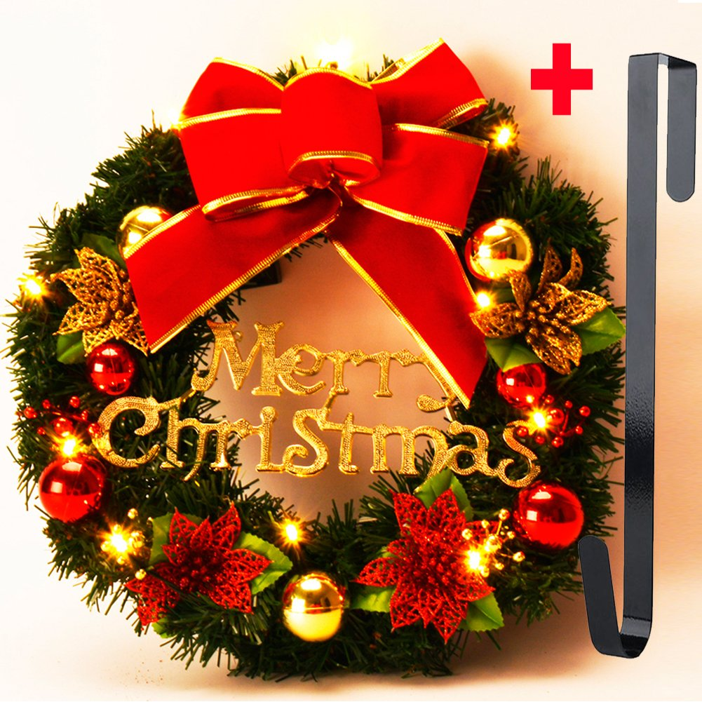 Coxeer Christmas Wreath, 16 Inch Holiday Wreath Christmas Outdoor Party Decoration Bowknot Decorative Wreath Battery Operated with Lights Wreath Hanger for Door Wall Windows Home Decoration