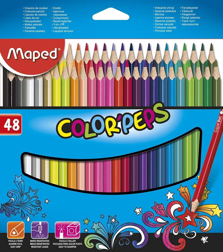 Maped Color'Peps Triangular Jumbo Colored Pencils, Assorted Colors, Pack of 12 (834049ZV) Maped Helix USA
