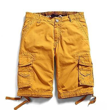 a0e7a2385c OCHENTA Men's Cotton Casual Multi Pockets Cargo Shorts #3231 Yellow 29