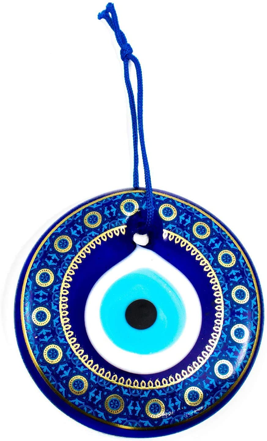 Erbulus Glass Blue Evil Eye Wall Hanging Gold and Navy Floral Design Ornament – Turkish Nazar Bead - Home Protection Charm - Wall Art Decor Amulet in a Box