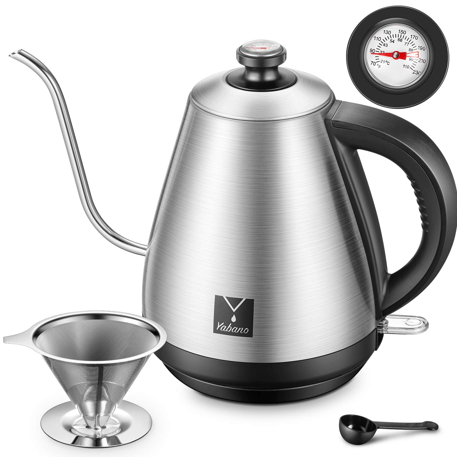 Electric Kettle, Yabano Gooseneck Kettle, Pour Over Coffee Maker with Integrated Thermometer for Coffee, Tea, Stainless Steel Coffee Teapots Kettle with Coffee Filter and Spoon, Auto Shut-Off, 1000W