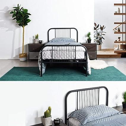 Blanc Aingoo Lit Enfant Lit Simple 90x190 cm Base de Cadre de lit en m/étal avec t/ête de lit et Lattes en Acier Design Lisse pour Votre Chambre /à Coucher