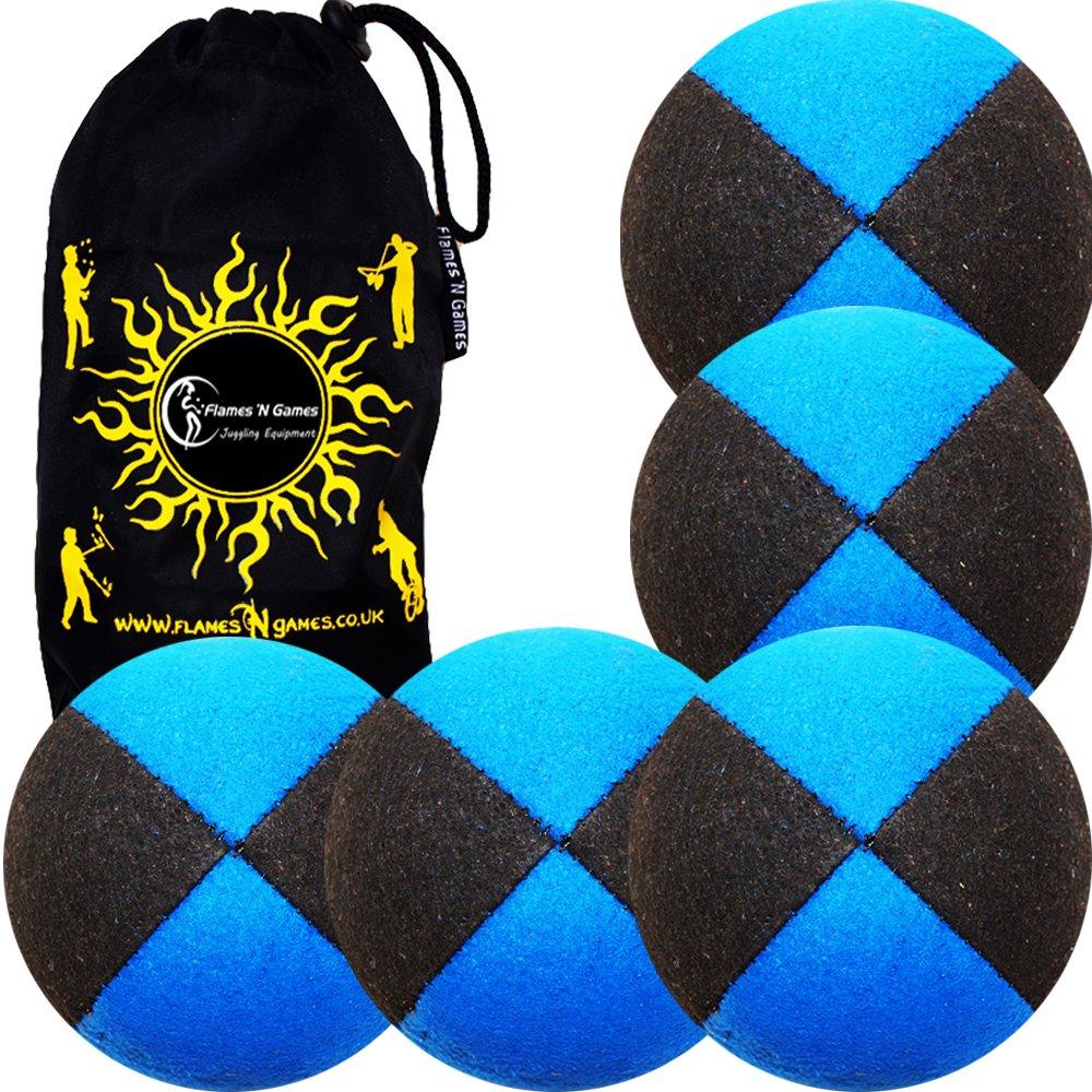 5x Balles de Jonglage THUD En Cuir suède Super Durable (Suede) 5x PRO Jonglerie Beanbag Jonglage Balles + Sac de voyage. (Noir/Bleu) Flames N Games