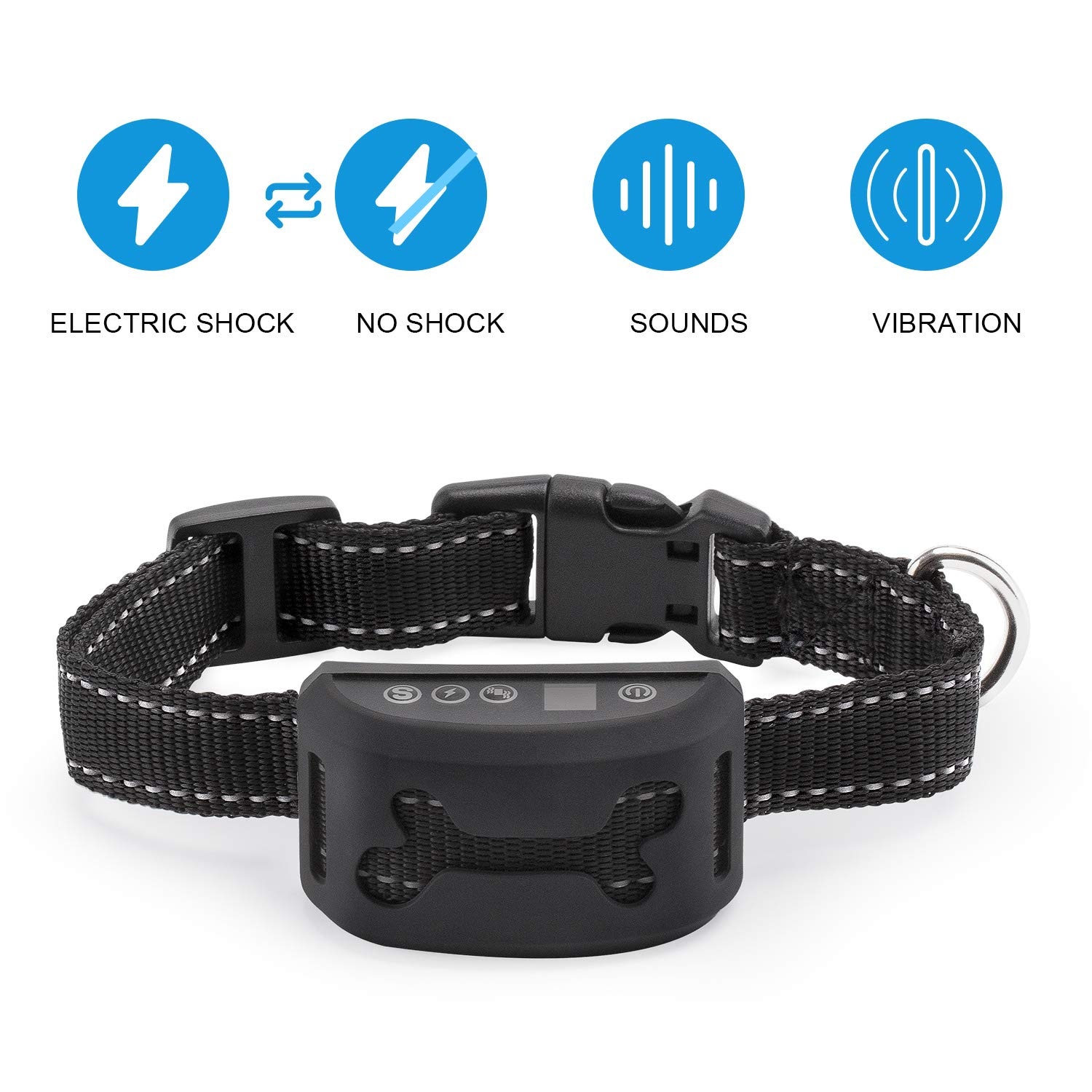 Bark Collar -2018 Smart Chip-Dog Shock Anti-Barking Collar with Beep, Vibration and Harmless Shock. No Bark Control for Small/Medium/Large Dogs, 7 Adjustable Levels