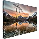 Orange Sunrise Mountains Lake District | 40x30 Canvas Wall Art Print - Long Lasting High Quality Wooden Frames