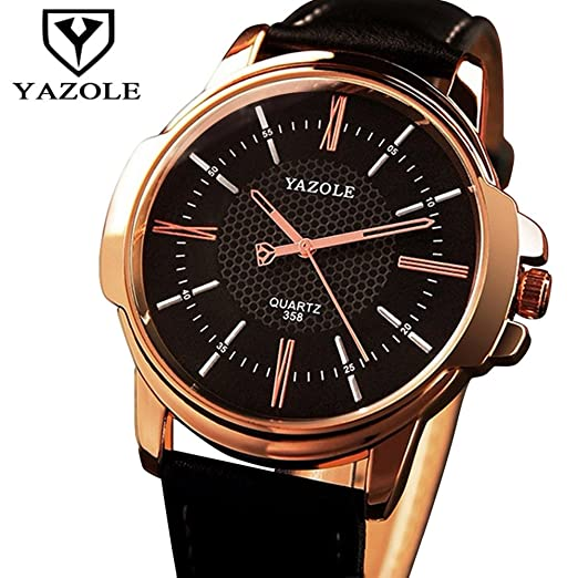 Yazole 358 famoso reloj de oro reloj de pulsera de cuarzo de negocios masculino reloj de pulsera, Oro: Amazon.es: Relojes