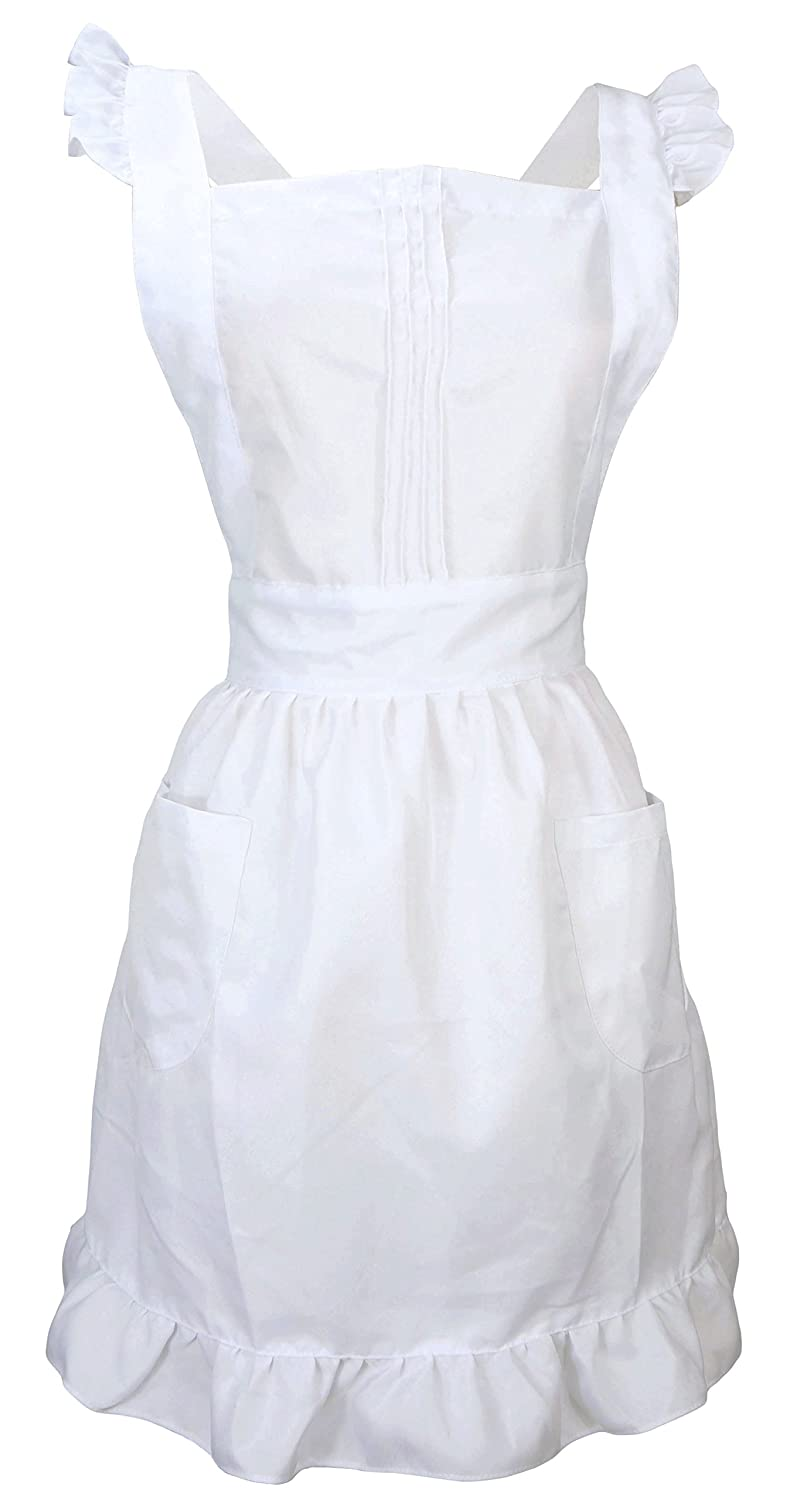 LilMents Retro Adjustable Ruffle Apron with Pockets, Small to Plus Size Ladies (White) 7Q1ZZA