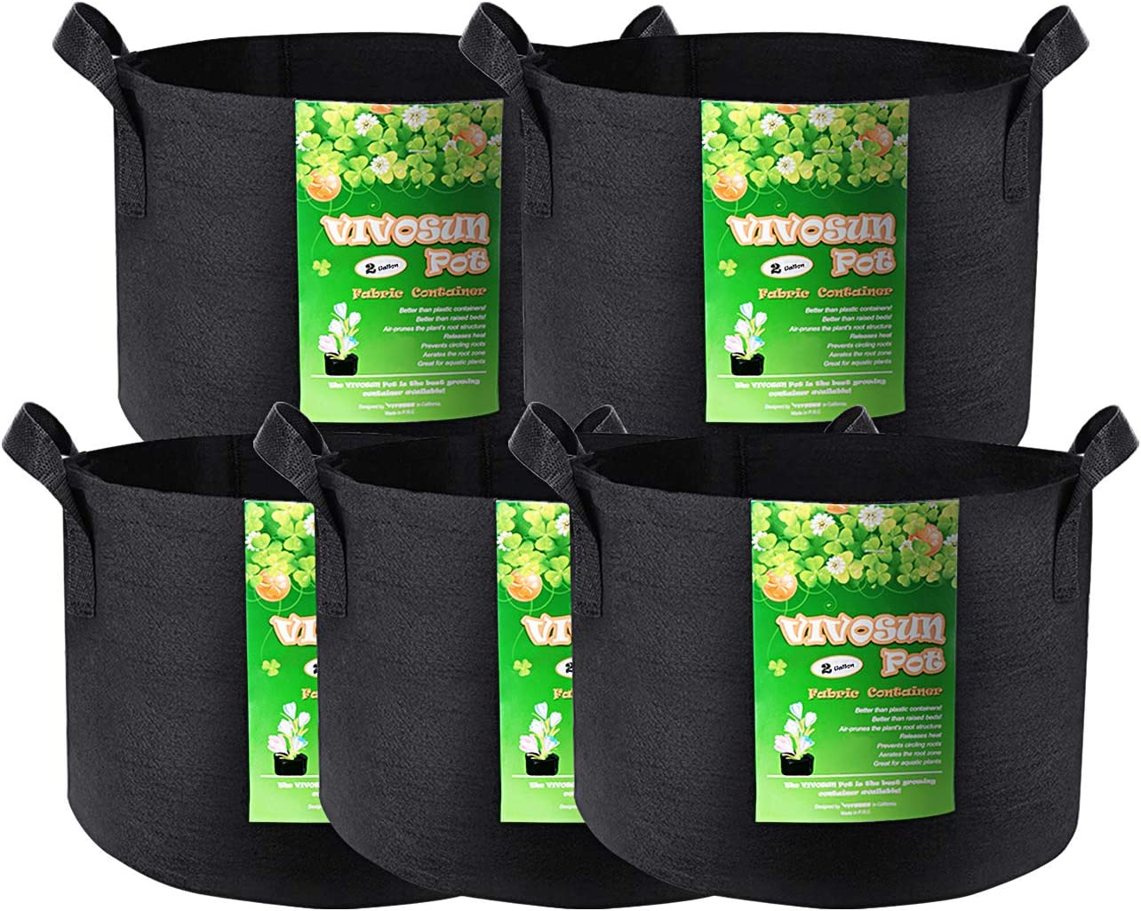 VIVOSUN 5-Pack Thickened Nonwoven Fabric Pots Grow Bags Planter