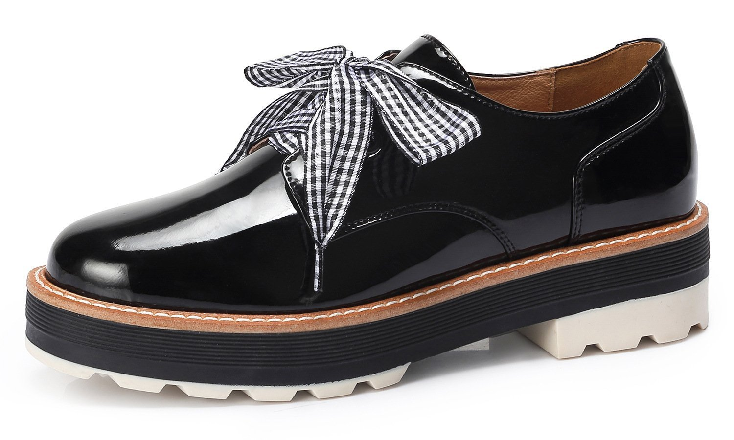 Women's Platform Round Toe Oxfords Checkered Lace-up Big Girls' Sweet Style Oxfords Mid-Heel Wedge Shoes Dress Loafers Black Size 8