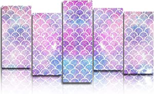 5 Panels Canvas Print Wall Art - Ombre Mermaid Charming Fish Scale - Wall Decor Pictures for Living Room Modern Artwork Stretched and Framed Ready to Hang (8x16x4pc+8x24in)