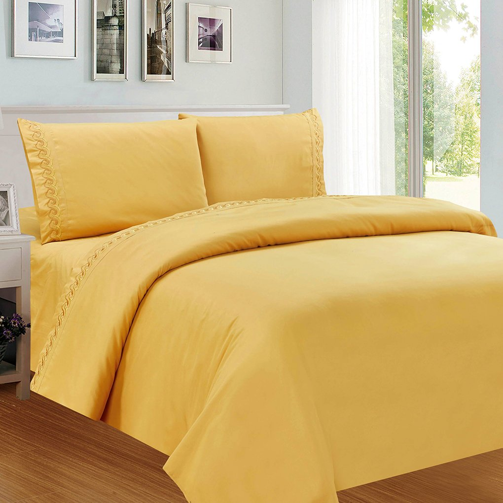 Lovely Topker 3 / 4ST Solide Stickerei Bed Set Polyester Baumwolle  Pillowcase Spannbettuch Kit Schlafzimmer