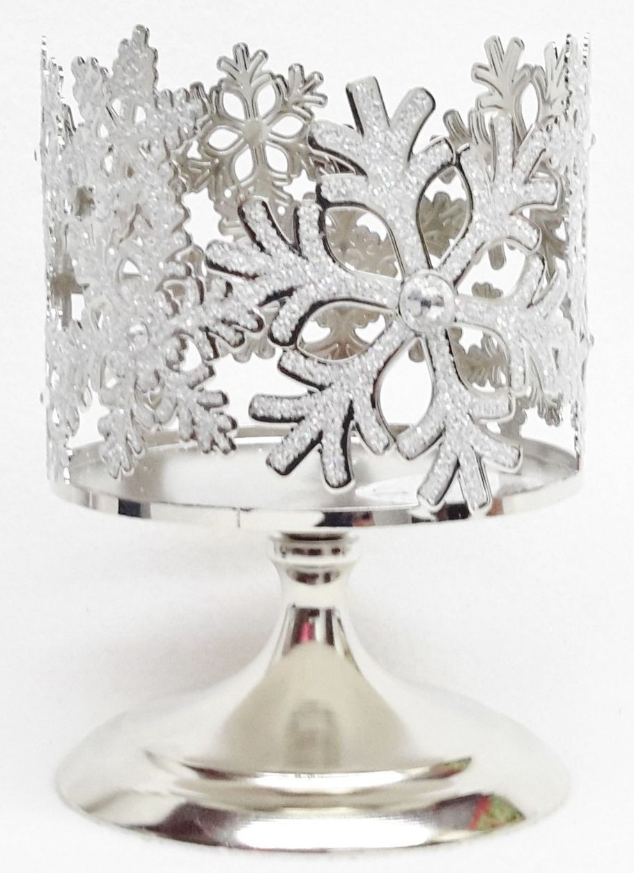 Frosted Glittery Snowflake Silver Sleeve Pedestal 3-Wick Candle Holder