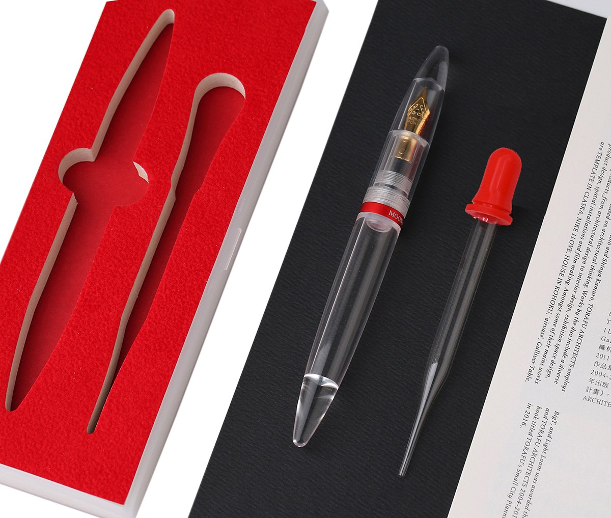 Transparent Eye Dropper Filling Fountain Pen by Moonman M2【2018 New Arrival】Large-Capacity Ink Storing, Fine Nib Writing Calligraphy Pen Gift Set for Office/Business/Student/Signature