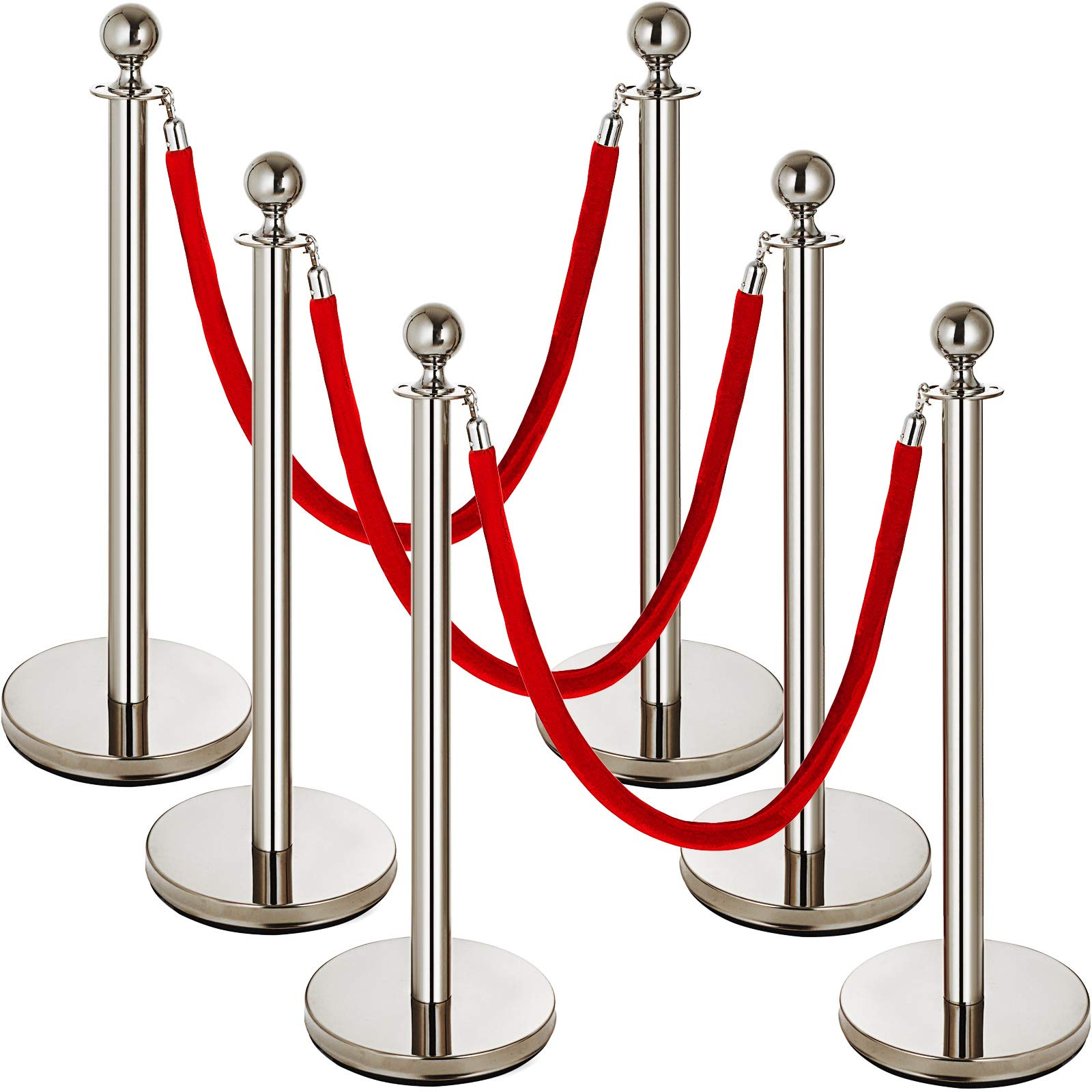 Mophorn 6 PCS Stainless Steel Stanchion Post Queue Red Rope Retractable 38In Silver Crowd Control Queue Line Barriers (Silver-Red Rope)