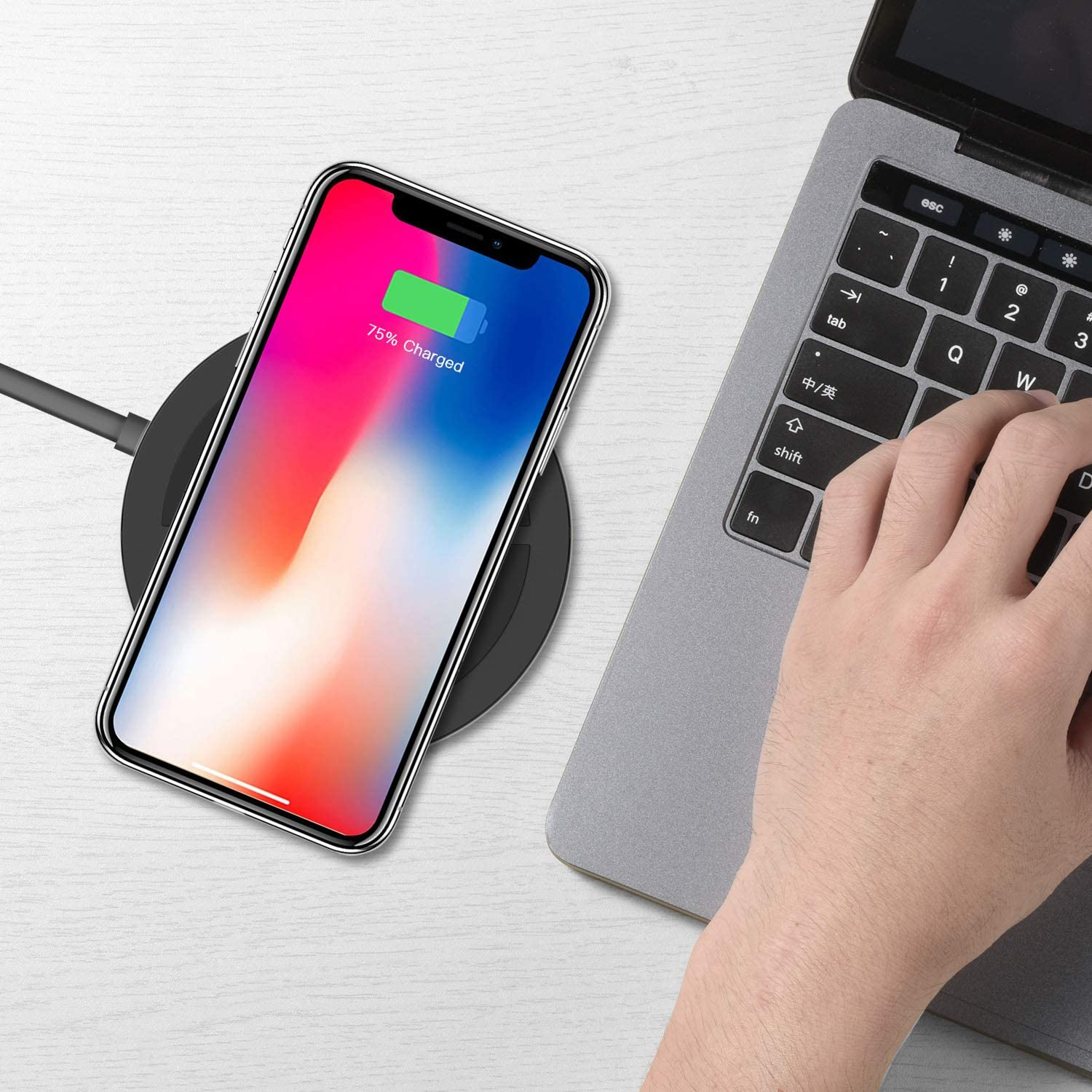 Qi-Certified SKOXI Fast Wireless Charger Compatible iPhone XR//Xs Max//XS//X//8//8 Plus Fast Charging Galaxy S10//S9//S9+//S8//S8+ and More Twisty 10W Wireless Charging Pad and Adjustable Stand
