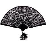 niceeshop(TM) Abanico de la Mano, Abanico Plegable de Flor Encaje Vintage, Negro