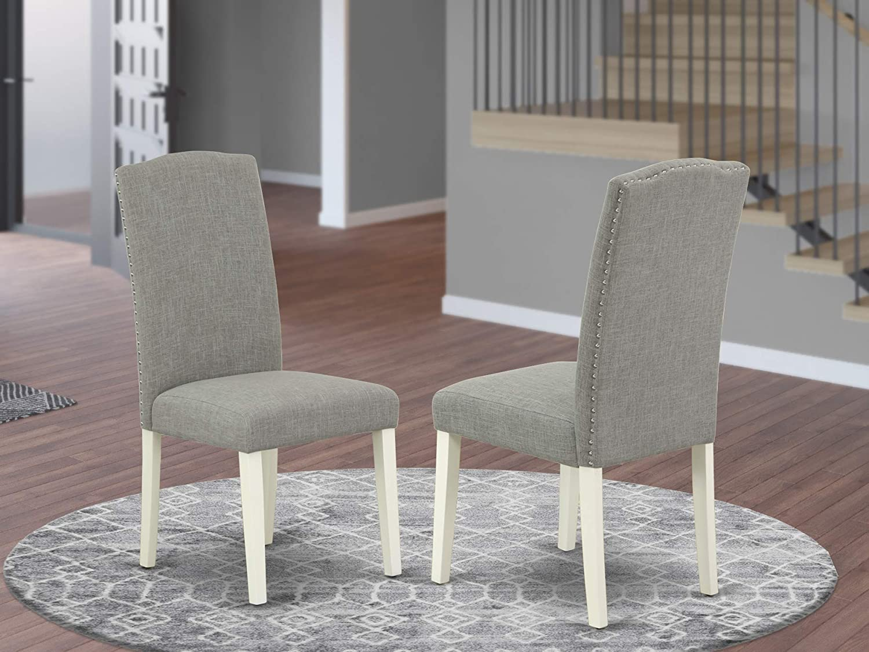 Amazon Com East West Furniture Padded Parson Chair Comfortable Dark Shitake Linen Fabric Hardwood Linen White Finish Legs Modern Parson Dining Chairs Set Of 2 Furniture Decor