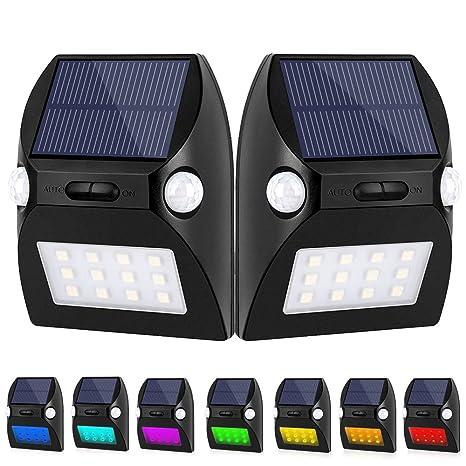 Lámpara solar jvsurf Sensor de movimiento lámpara de pared con detector de movimiento inalámbrico resistente al agua 12 LED 7 modo RGB Cambio de color solar ...