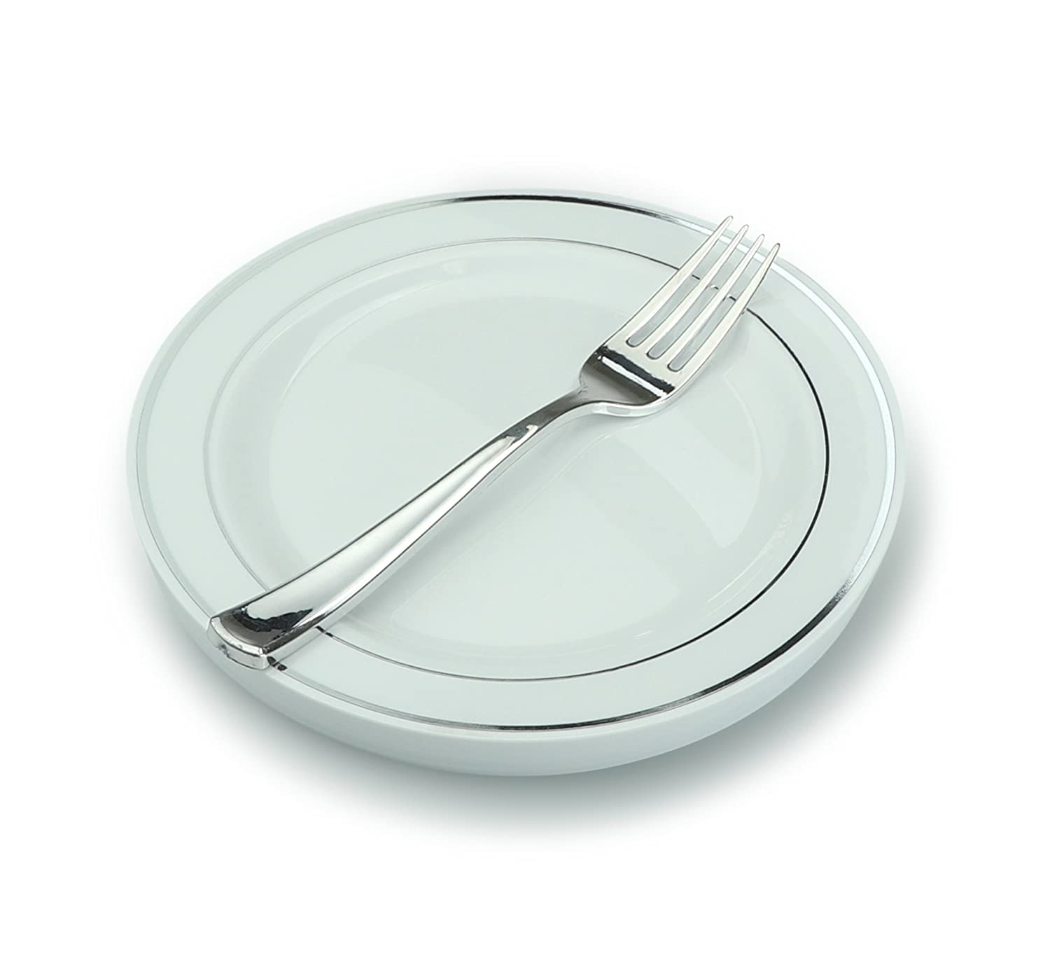 """"""" OCCASIONS"""" Wedding Party Heavyweight Disposable Plastic 7.5'' Silver Rim Plates + Forks set (Appetizer/Dessert Setting, 60 Settings)"""