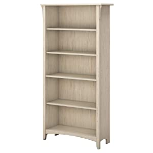 Bush Furniture Salinas 5 Shelf Bookcase in Antique White